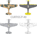 Curtiss p vector illustration of old military airplane Stock Photos