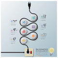 Curve electric wire line diagram business infographic design template Stock Photos