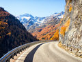 Curve at the european alps Royalty Free Stock Photos