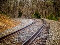Curve in Railroad Tracks Royalty Free Stock Photo