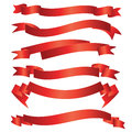 Curve ribbon pack set of six red vector illustration Royalty Free Stock Images