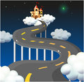 A curve road going to the castle illustration of Royalty Free Stock Photography
