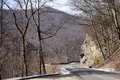 Curve in road through the great smoky mountains national park mountain winter near gatlinburg tennessee Stock Photos