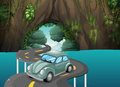 A curve road passing through the cave illustration of Royalty Free Stock Image