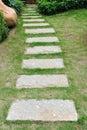 Curve stone path in garden Stock Photo