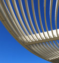 Curved aluminum pergola of the getty museum in los angeles california u s a Stock Photo