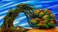 Curved arc tree drawing autumn it s roots in the sand with green yellow and red leaves it was bended by constant wind into an Royalty Free Stock Images