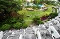 Curved balcony & garden Royalty Free Stock Photo