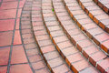 Curved brick staircase red and walkway Royalty Free Stock Image