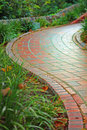 Curved brick walkway Stock Photos