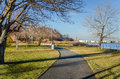 Curved footpath alongside the coast north shore of staten island new york on a winter morning Royalty Free Stock Photography