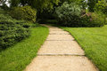 Curved garden path surrounded by lush foliage Royalty Free Stock Photo