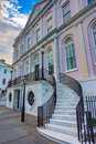 Curved marble starway entrace to a stately greek revival mansi mansion broad street chartleston sc Stock Photos