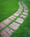 Curved path on a lawn area Royalty Free Stock Photo