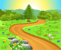Curved path in natural landscape vector illustration of with lots of colorful flowers all around Stock Image