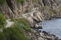 Curved road along Norwegian  fjords - Vesteralen Stock Photos