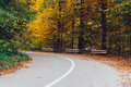 Curved road in autumn through forest Stock Photos