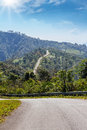 Curved road mountain sunny day northern thailand Stock Photos