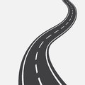 Curved road with white markings. illustration Royalty Free Stock Photo