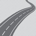 Curved road with white markings. Royalty Free Stock Photo
