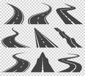 Curved roads vector set. Asphalt road or way and curve road highway. Winding curved road or highway with markings.