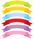 Curved Vector Ribbons in 6 Colors Stock Image
