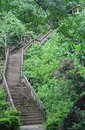 Curving stone staircase in vang vieng lao Royalty Free Stock Photography