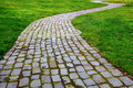 Curvy Brick Path in grass Stock Photography