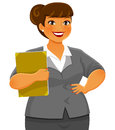 Curvy business woman smiling confidently Royalty Free Stock Photo