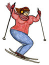 Curvy Girl Skiing Stock Image