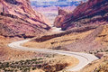 Curvy Interstate 70 road goes through Utah USA Royalty Free Stock Photo