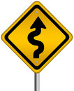 Curvy road sign Royalty Free Stock Image