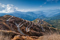 Curvy roads silk trading route between china and india beautiful on old sikkim Royalty Free Stock Photos