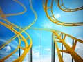 Curvy roller coaster rails in the sky. 3D illustration Royalty Free Stock Photo