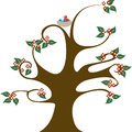 Curvy tree with nest vector illustration