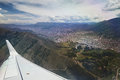 Cusco city from plane view Royalty Free Stock Photo
