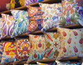 Cushion display at a market stall Stock Image