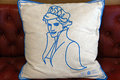 Cushion a with lady diana embroidered on in kensington palace Stock Photography