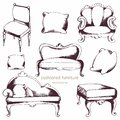 Cushioned furniture. Vector set. Hand drawing