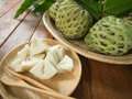 Custard apple pieces are placed in a dish Stock Image