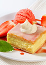 Custard vanilla slice with strawberries and ice cream fresh Stock Photo