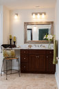 Custom bathroom sink a and vanity in a new home Stock Images