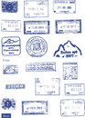 Custom, border and mountaineers peaks stamps Stock Photo