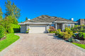 Custom built house garage door luxury with nicely trimmed and designed front yard lawn in a residential neighborhood canada Royalty Free Stock Image