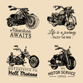 Custom chopper and motorcycle logos set. Vintage inspirational posters, t-shirt prints collection for MC, garage etc. Royalty Free Stock Photo