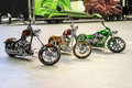 Custom motorbikes montreal october picture of three different harley davidson bike in display during the autorama event Stock Photo