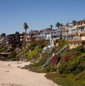 Custom newport homes on the steep cliffs of orange county these beachside home crowd in for the amazing views of the pacific ocean Royalty Free Stock Photography