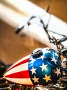 Custom painted chopper wearing the American flag