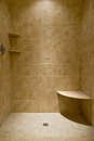 Custom tiled stand up shower a made travertine tile Stock Images