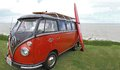 Custom vw van a at whitstable classic car show june with a surf board on the side and a skate board on roof rack ideal picture for Royalty Free Stock Photo